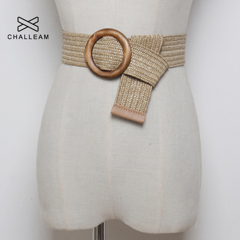 Women Bohemian Elastic Braided Belt Fashion Female Summer Dress Jeans Wide Black PP Straw Designer Wood Buckle Boho Belts 232 1