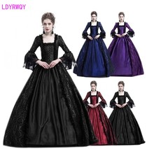 2019 new European and American court retro temperament lace stitching big trumpet sleeve medieval dress