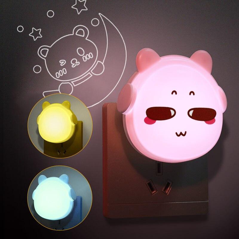 Auto On Off Night Lights Plug In Wall Smart Lighting Sensor LED Nightlight for Kids Rooms Cute Headphone Bear Night Lamp EU Plug