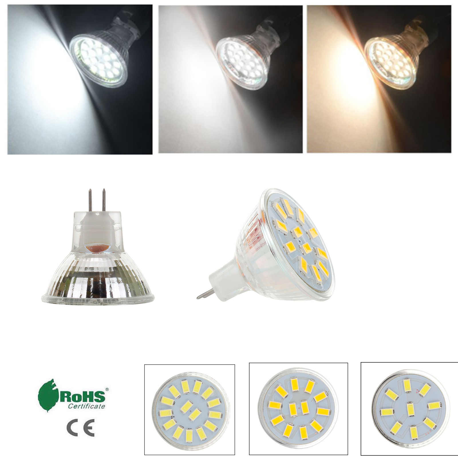 LED Bulb MR11 GU4 120LM 240LM LED Bulb 9LED 12LED 15LED 5730 SMD Warm Cold Neutral White AC/DC12V-24V Lamp Replace Halogen Light