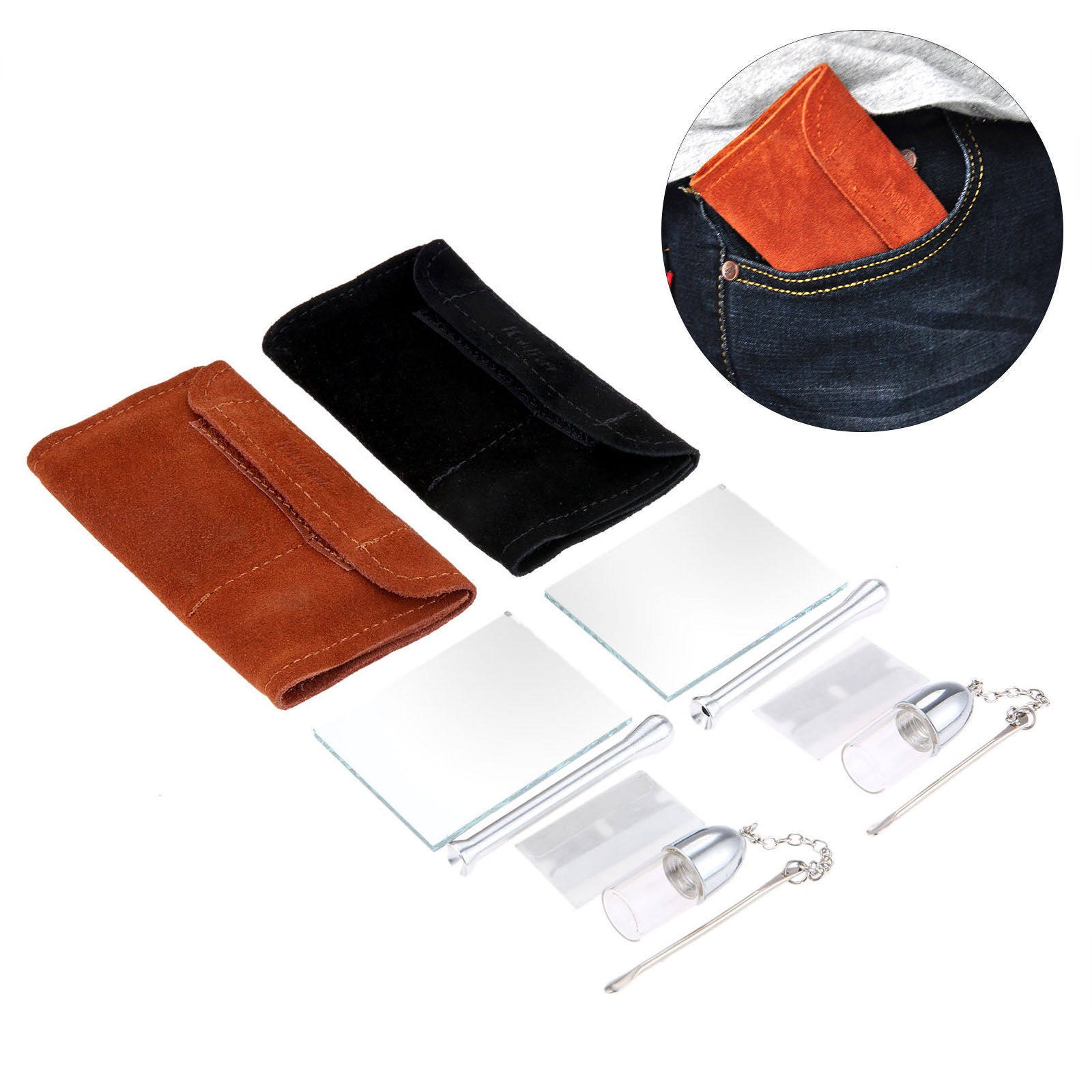 Portable Leather <font><b>Tobacco</b></font> Pouch Bag+Snuff BulletSnorter Tool Sniffer Straw Hooter Hoover Pouch Bag Pipe <font><b>Case</b></font> Pocket image