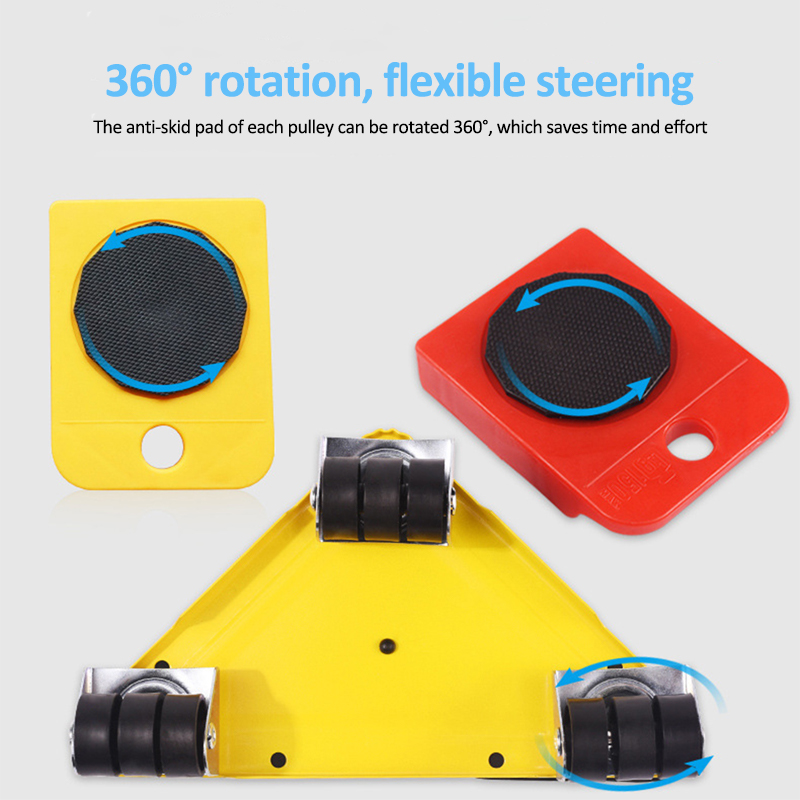 5Pcs Furniture Mover Tool Transport Lifter Set Heavy Stuffs Moving Wheeled Roller Bar Household Hand Tools Professional Sets-4