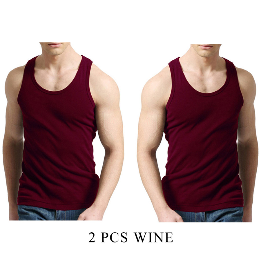 2 Pack MEN/'S VEST 100/% COTTON TANK TOP T SHIRT CASUAL SLEEVELESS 6 Pcs
