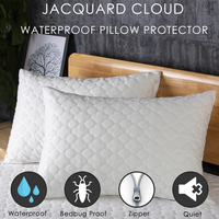 LFH 50X70CM Jacuquard Clould Waterproof Pillow Protector Dust Mite Bed Bug Resistant Zippered Pillow Covers For Bedding Pillow