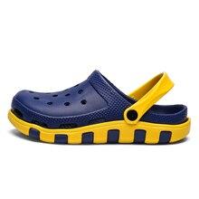 2020 New Summer Beach Sandals Men's Slip on Shoes Sport Blue Jelly Slippers Male Crocs