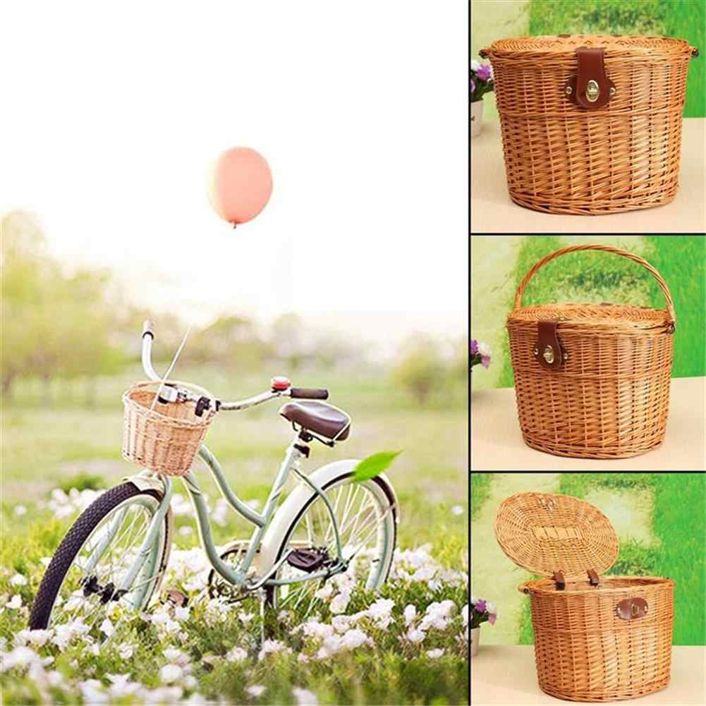 Kids Wicker Bicycle Bike Front Basket Handlebar for Shopping Hiking Holds Pet