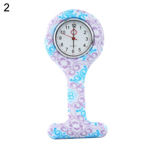 Портативный Зебра арабские печатные цифры Круглый циферблат силикон Медсестра часы Брошь Туника кармашек для часов Часы - Цвет: 2