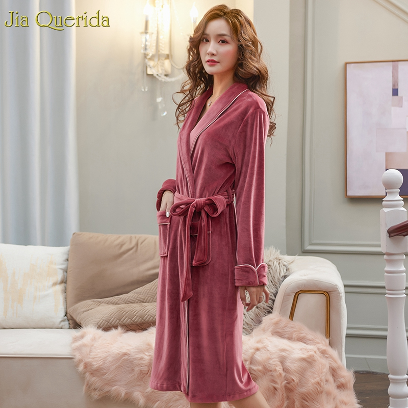 Warm Lingerie Robe Sexy Nightrobe Long Sleeves Bridal Robes Quality Island Velvet Couples Robes Women's Winter Velvet Housecoat