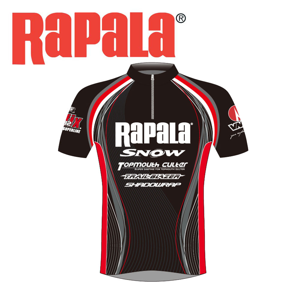 Rapala Fishing Shirt Black/Red Fishing Clothes M-XXXL Quick-Drying Anti-UV Fishing Clothing