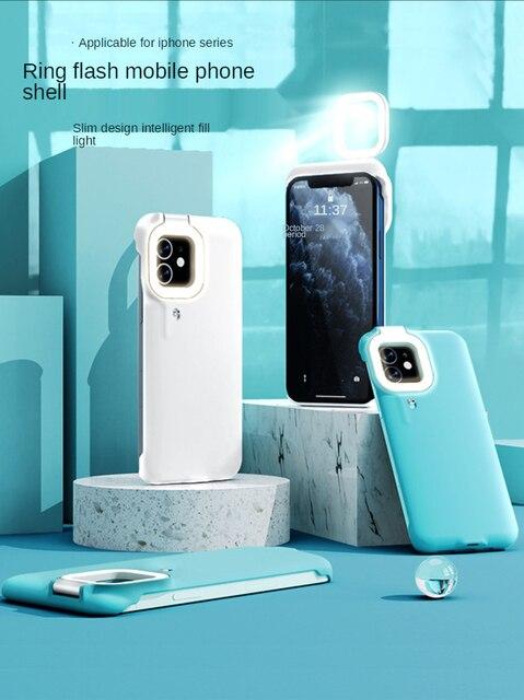 Capa de celular com flash e luz de led, para iphone 7, 8, x, xs max, xr, 12, 12 pro max, 12