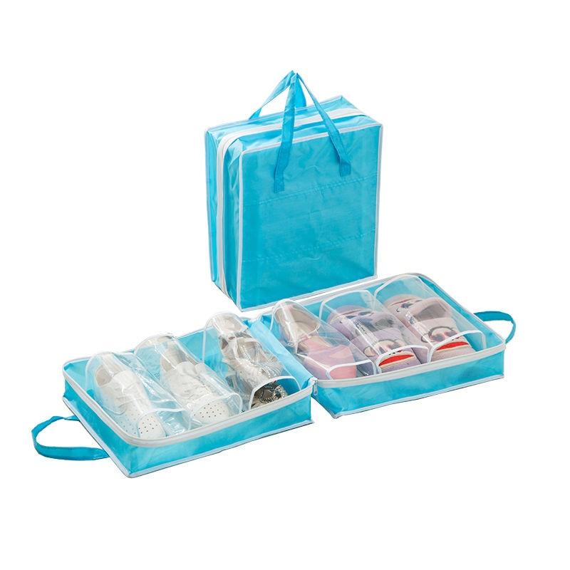Large Capacity Portable Travel Shoe Bags 3 Pairs Pocket Dustproof Waterproof Polyester Zipper Shoe Organizer