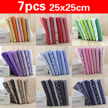 7pcs 25*25cm Square Crafts Cloth 100% Cotton Fabric Print Cloth Sewing Quilting for Patchwork Needlework DIY Handmade Material animal printed cotton linen fabric patchwork canvas cloth cotton linen blend fabric handmade diy sewing quilting textile crafts
