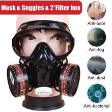 Masque à gaz respirateur 3 en 1, filtre chimique de sécurité, lunettes oculaires militaires, Protection sur le lieu de travail avec 2 boîtes filtrantes