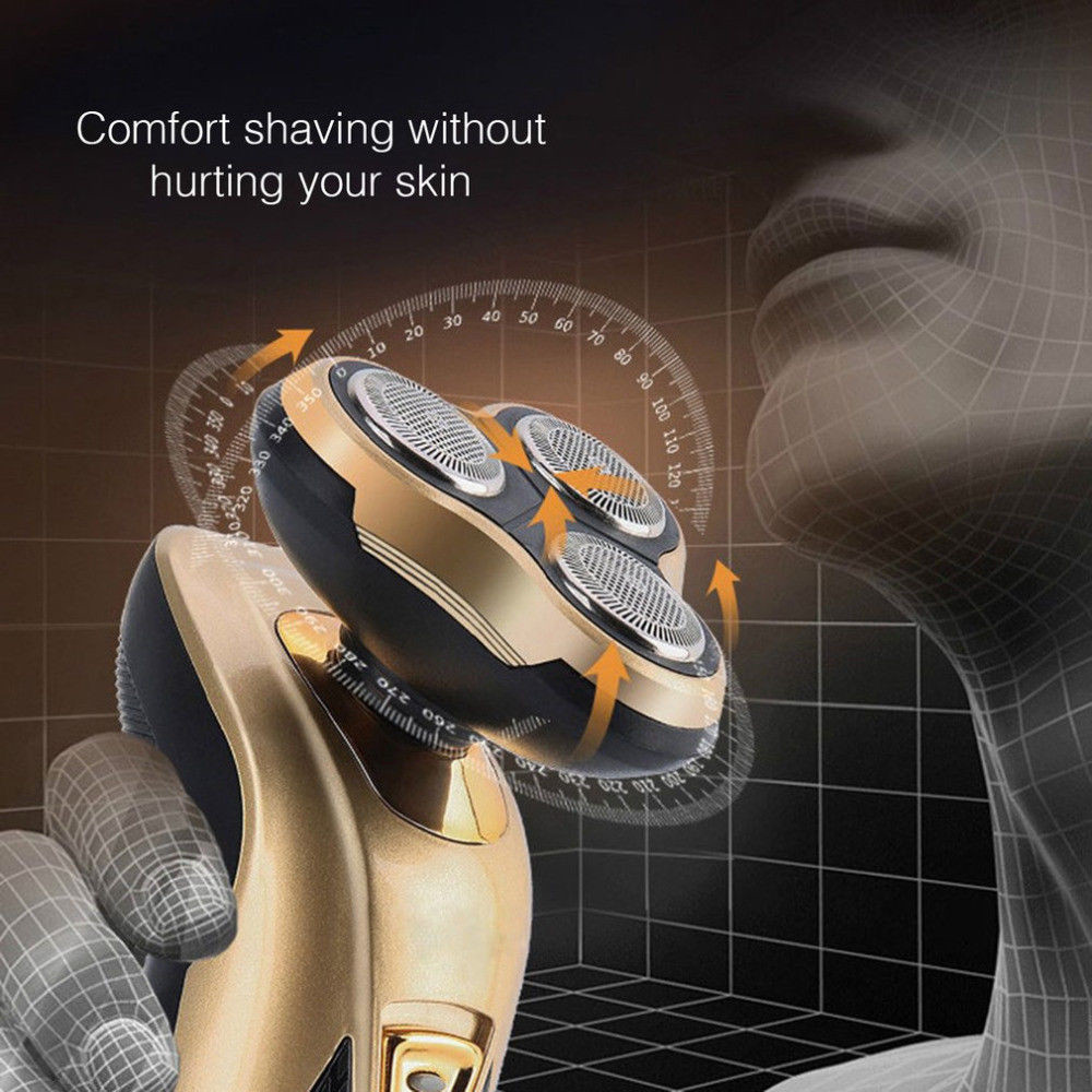 Купить с кэшбэком Rechargeable 3 in 1 Electric Shaver Beard Shaving Machine Multifunctional Razor Triple Shaver Waterproof Hair Beard Trimmer