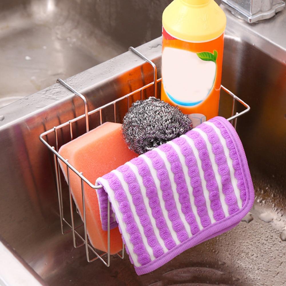 Hot Sales  Kitchen Sink Organizer Stainless Steel Hanging Sponge Holder Towel Rack Sink Drainer Basket Cleaning Tool Storage