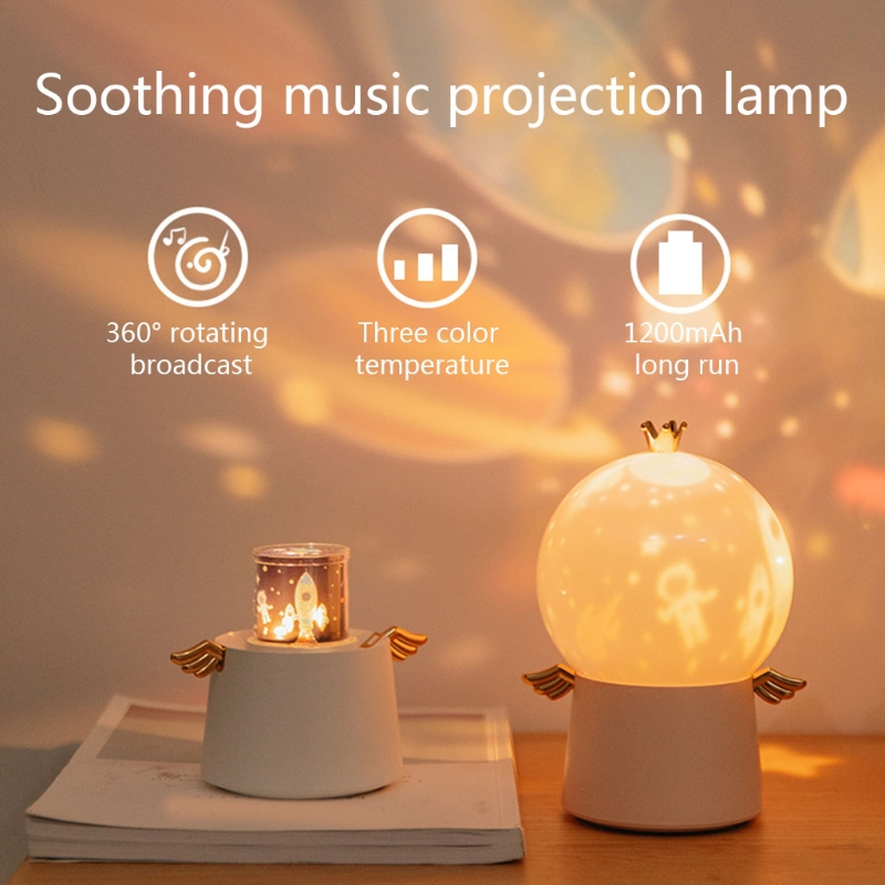 Guardian Angel LED Projector Night Light with Music Box Rotation Starry Sky Lamp for decorating wedding, birthday, parties