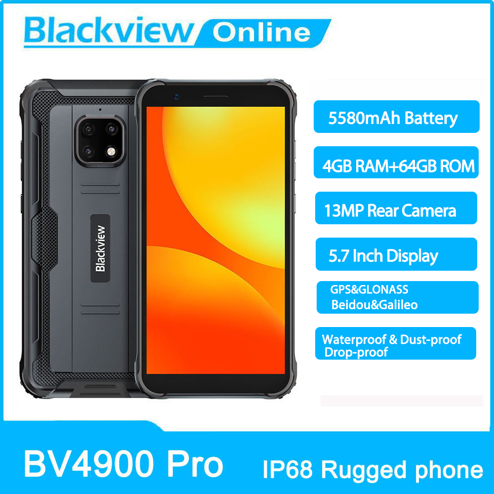 Blackview BV4900 Pro IP68 Waterproof Smartphone 4GB+64GB 5580mAh 13MP Camera Rugged Phone 5.7 inch Mobile Phone 4G Cellphone