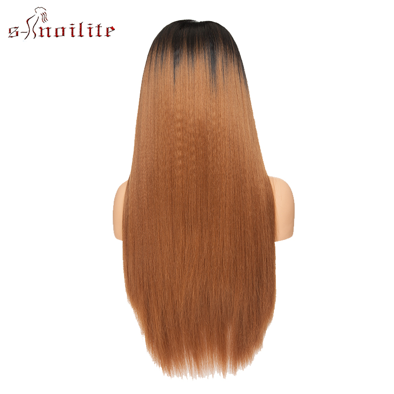 Image 5 - S noilite 26'' Ombre Lace Front Wig 12.5''x3'' Yaki Straight Synthetic Hair Lace Wig Long Wigs For Women Cosplay Halloween Wigs