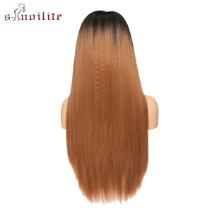 Image 4 - S noilite Synthetic Lace Front Wig 12.5x3 Ombre Yaki Straight Hair Lace Wig Long Wigs For Women Cosplay Halloween Wigs
