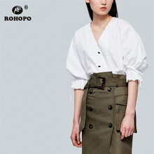 ROHOPO Butterfly Half Sleeve V Collar Buttons Cotton White Blouse High Low Solid Ladies Autumn Tops Blusa #9205