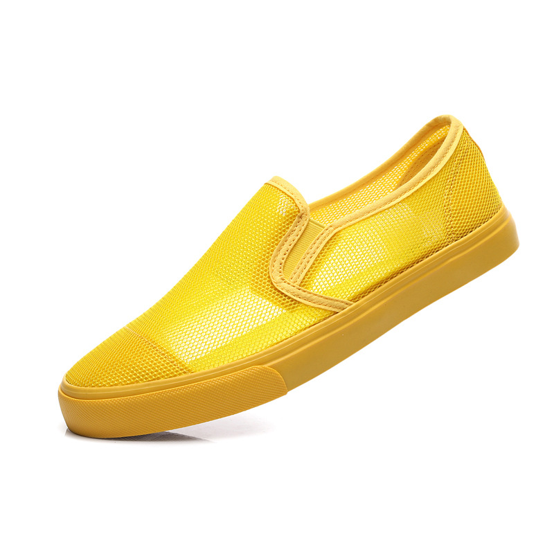 Man Shoes Loafers Mango Men Sneakers Mesh Cool Comfortable Yellow Male Summer Slip-On