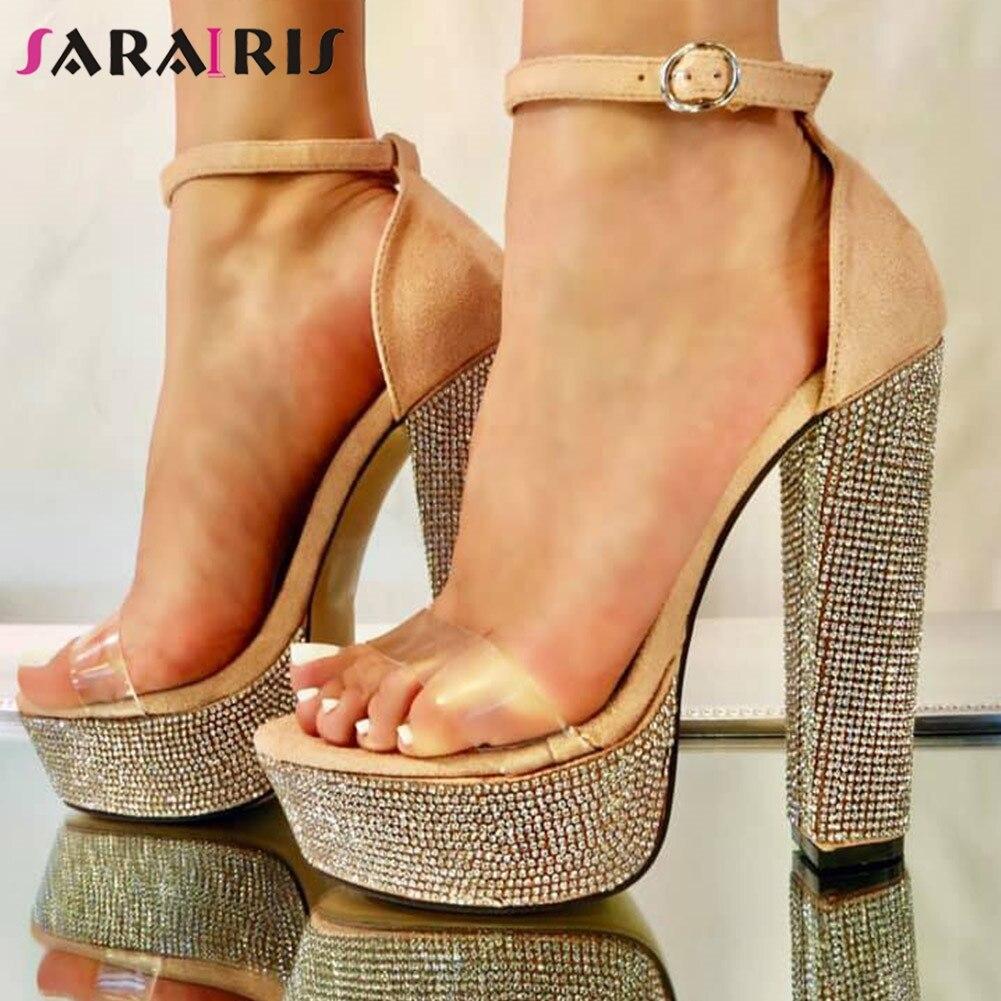 SARAIRIS Summer Decorating Sandals New Ins Hot Crystal Platform Sandals Women Fashion High Heels Party Shoes Woman