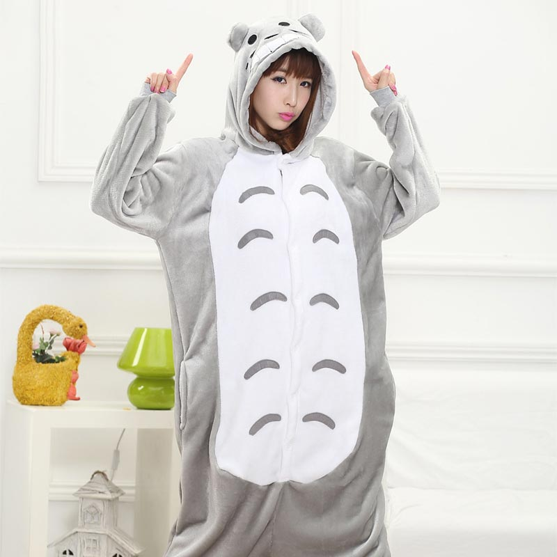 Anime Totoro Onesie Animal Gray Cat Kigurumi Women Girl Cute Pajama Home Jumpsuit Winter Warm Sleepwear Overall Festival Outfit