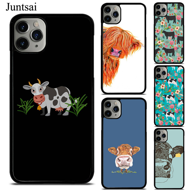Cute Highland Cow Phone Case Fundas For iPhone 11 Pro Max 7 7Plus 6S 5S 8 8Plus X XS Max XR