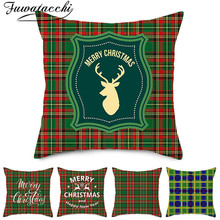 Fuwatacchi Christmas Style Cushion Cover Green Red Grid Throw Pillow Decorative Sofa Case Pillowcase