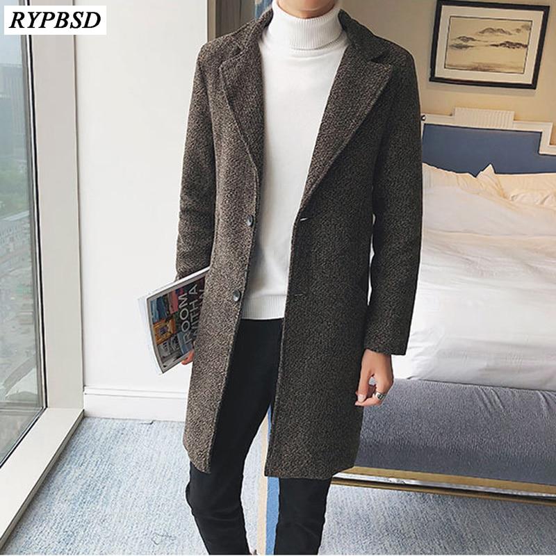 Wool Coat Men Long Coat Autumn 2019 Fashion Casual Woolen Jacket Men Slim Fit Solid Fit Warm Mens Wool Overcoat Plus Size M-5XL