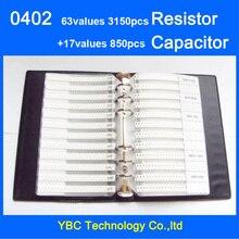 Darmowa wysyłka 0402 SMD przykładowa książka 63 wartości 3150 sztuk zestaw rezystorów i 17 wartości 850 sztuk zestaw kondensatorów