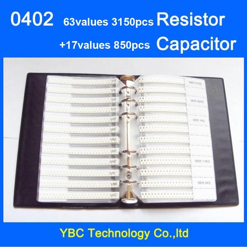 Бесплатная доставка 0402 SMD книга образцов 63 значения 3150 шт. 1% комплект резисторов и 17 значений 850 шт. комплект конденсаторов