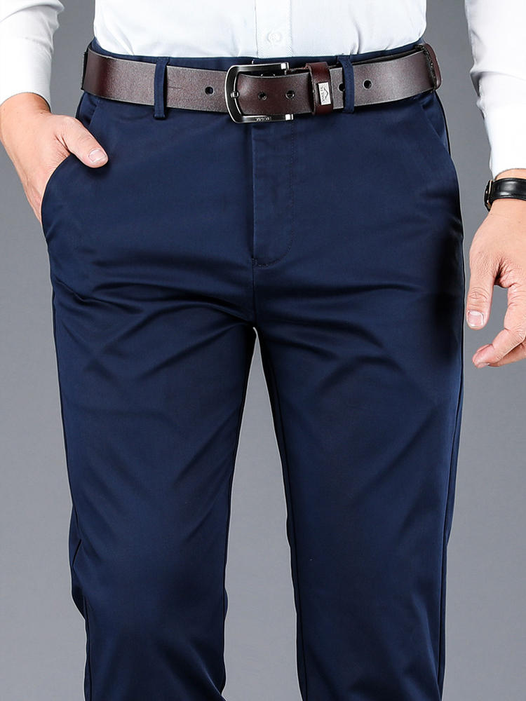 Casual Pants Trousers Fabric Khaki Black Straight 4-Color Brand Business Male Men's High-Quality