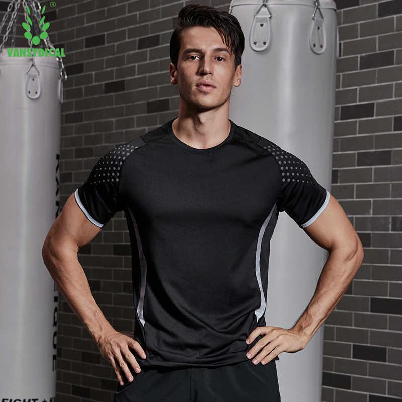 Yeni erkek koşu spor uzun kollu t shirt spor spor eğitimi sıkıştırma sıska baskı T-shirt erkek vücut geliştirme Tee Tops
