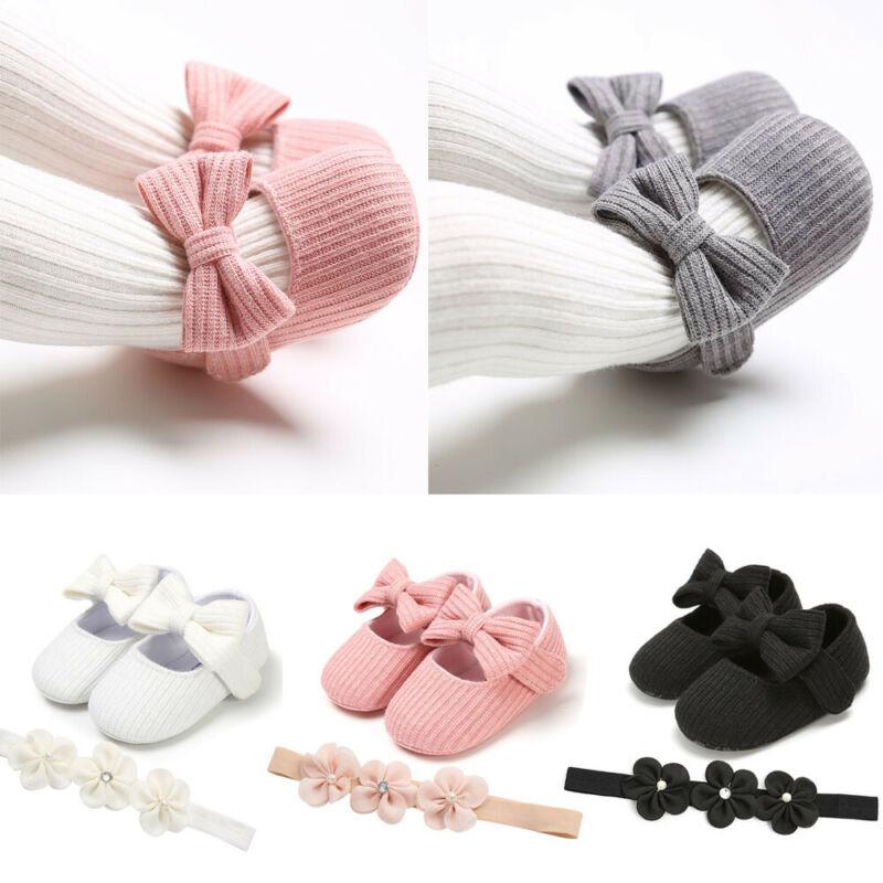2PCS Newborn Baby Girl Bowknot Crib Shoes Flower Headband Girls Soft Sole First Walkers Anti-slip Prewalker Sneaker Princess Set