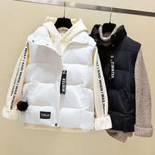 2020 New Solid Short Cotton Vest Women Collar Zipper Sleeveless Casual Winter Plus size Korean Version Female Outerwear 3XL Z574(China)