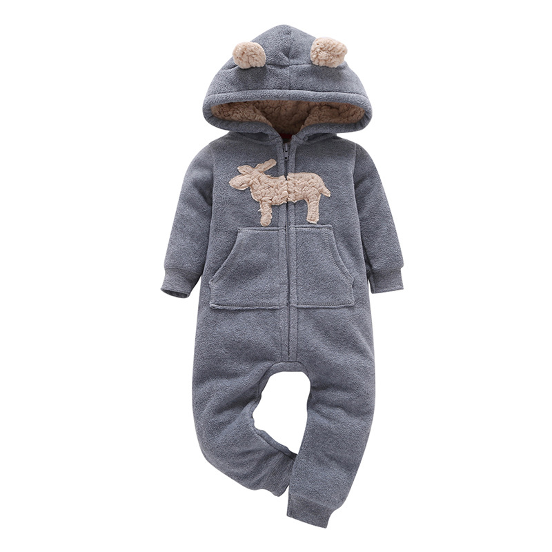 H97ed28794c5c42d0980619454ff25d06v 2019 Fall Winter Warm Infant Baby Rompers Coral Fleece Animal Overall Baby Boy Gril Halloween Xmas Costume Clothes Baby jumpsuit