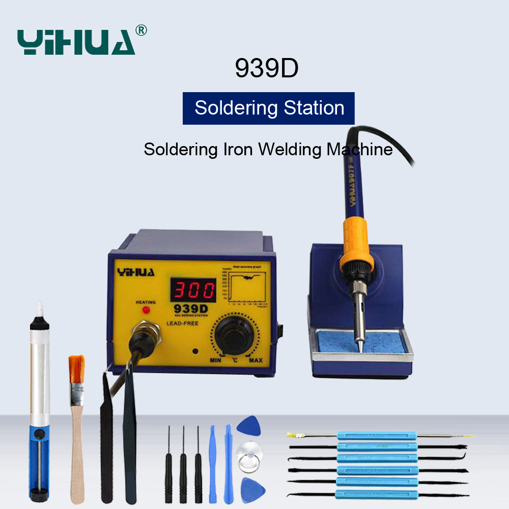 YIHUA 939D Temperature Controlled Soldering Iron Soldering Station Digital Display Anti Static Electric Welding Machines
