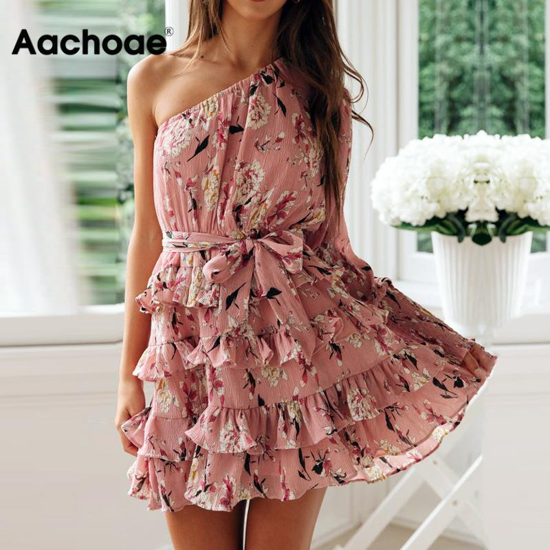 2020 Women Summer Dress Boho Style Floral Print Chiffon Mini Dress Sexy One Off Shoulder Long Sleeve Ruffle Beach Dress Sundress
