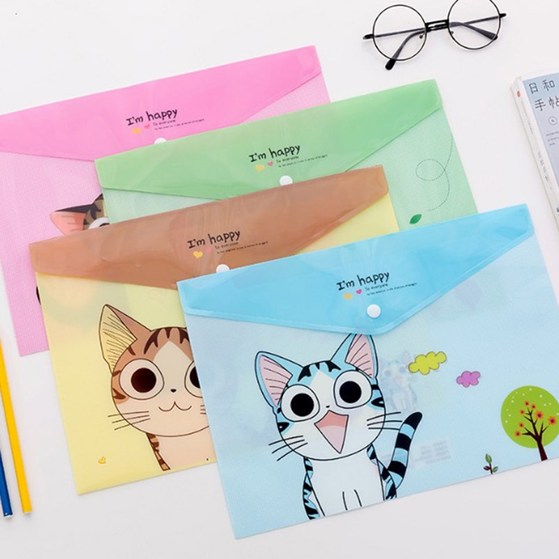 2PCS Kawaii PVC A4 Cheese Cat File Bag  Stationery Bag Korean Style Cute Document Filing Folder Products Office School Supplies