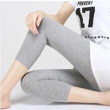 Leggings XS 7XL Sommer Legings Frauen 3/4 Kurze Legging Hosen Dünne Frauen Große Größe Stretch Grau Schwarz Weiß Rosa 6XL 5XL 4XL 3XL
