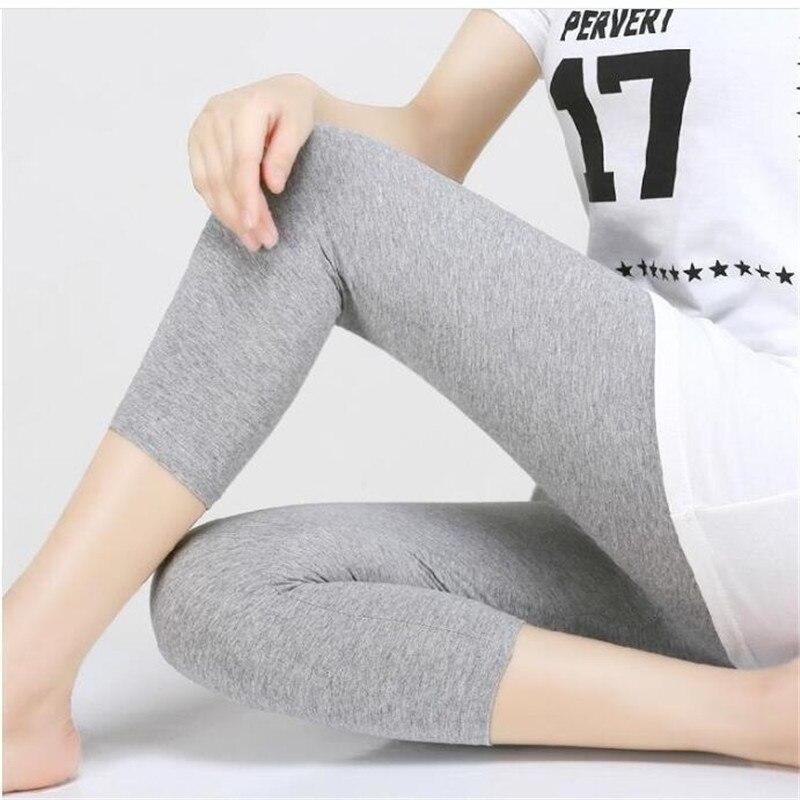 Leggings XS-7XL Summer Legings Women 3/4 Short Legging Pants Thin Women Large Size Stretch Grey Black White Pink 6XL 5XL 4XL 3XL