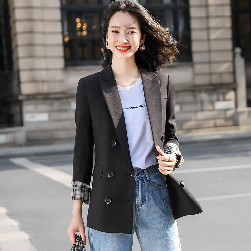 Fall 2020 Women's High Quality Ladies Office Blazer Casual temperament solid color double breasted ladies jacket small suit