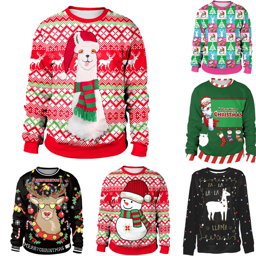 17Color New Year Ugly Christmas Sweater For Gift Print Santa Elf Funny Pullover Women Mens Blouses Long Sleeve Jerseys Clothing