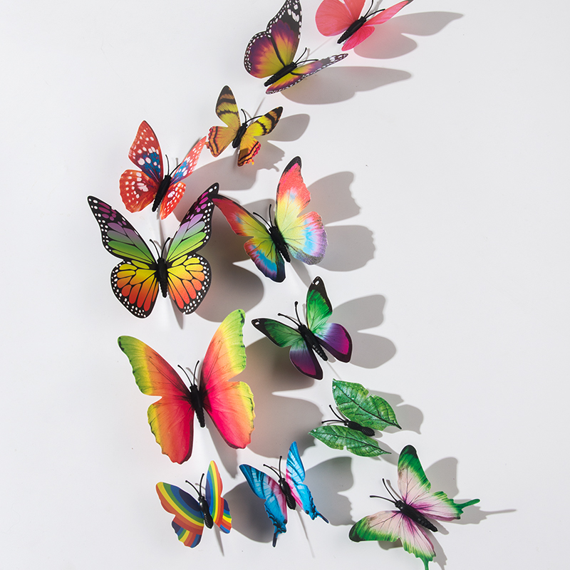 12PC 3D Colorful Butterfly Art Decal Home Room Wall Stickers Decal Dorm Décor