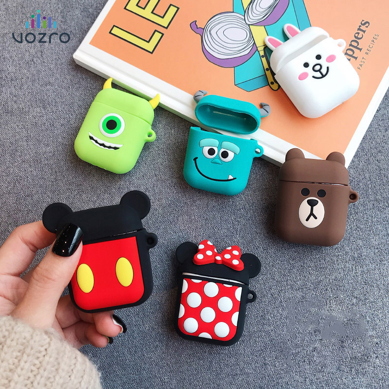 VOZRO Cartoon Wireless Bluetooth Earphone Case For Apple AirPods Silicone Charging Headphones Cases For Airpods Protective Cover-in Earphone Accessories from Consumer Electronics