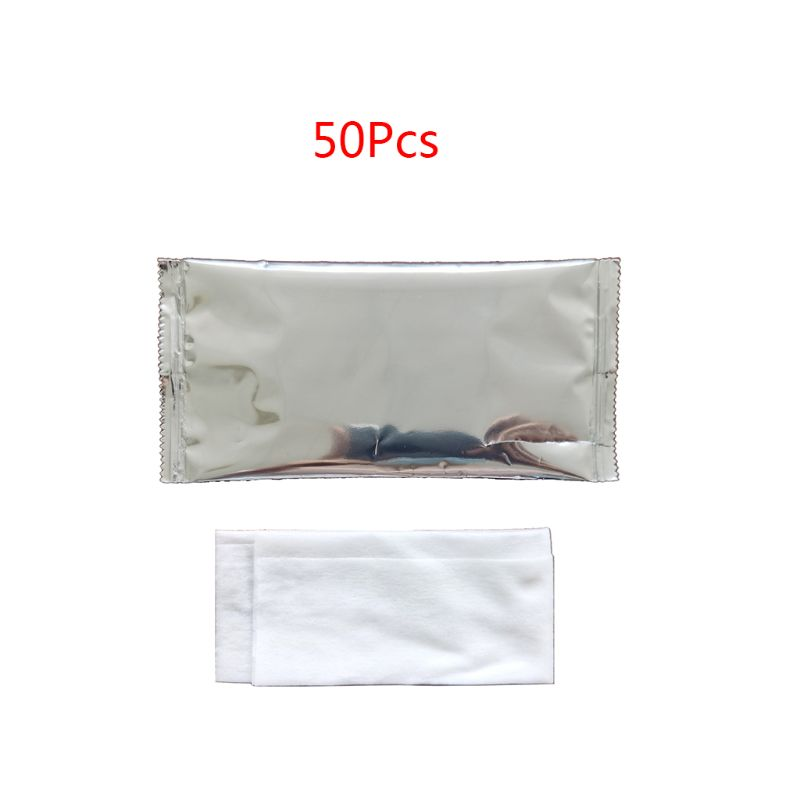 50Pcs Disposable Non-Woven Wet Wipes Tissue Individually Wrapped Portable Hand