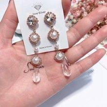 Coréia Moda de Nova Simulatd Temperamento Brincos de Pérola Elegante Strass Pingente de Cristal Longas Pendientes Mujer Moda