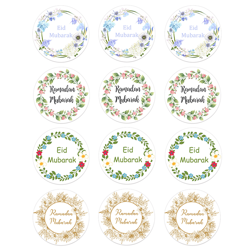 24/48pcs EID Mubarak Decor Stickers Ramadan Mubarak Decoration Islam Muslim Festival Favor Gifts Labels HAJJ Ramadan Kareem