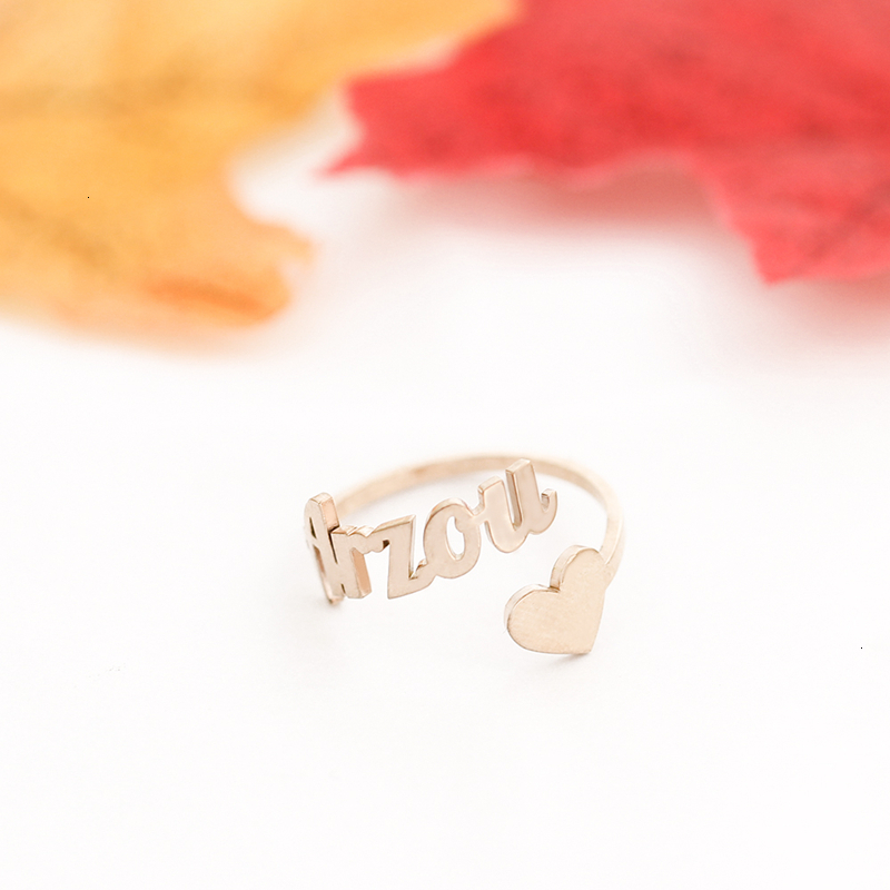 Custom Heart Name Ring Adjustable Stainless Steel Rose Gold Personalized Wedding Rings For Women Jewelry Box Bridesmaid Gifts